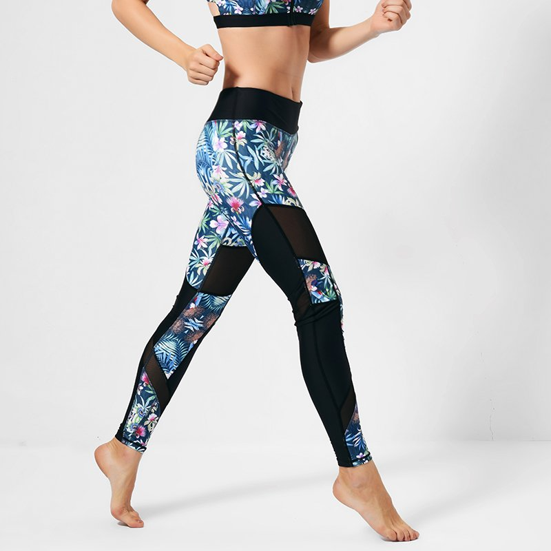 INGOR Floral mesh spandex yoga leggings print GYP16003 Leggings image13