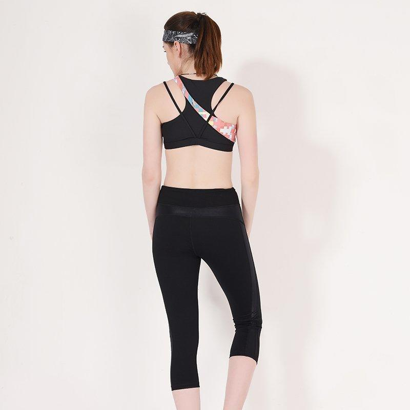 Ladies high neck sports bra top Y1913B08