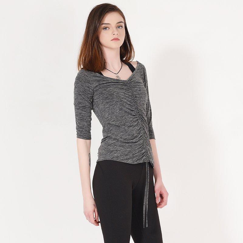 Custom long sleeve yoga shirts with drawstring Y1913T02