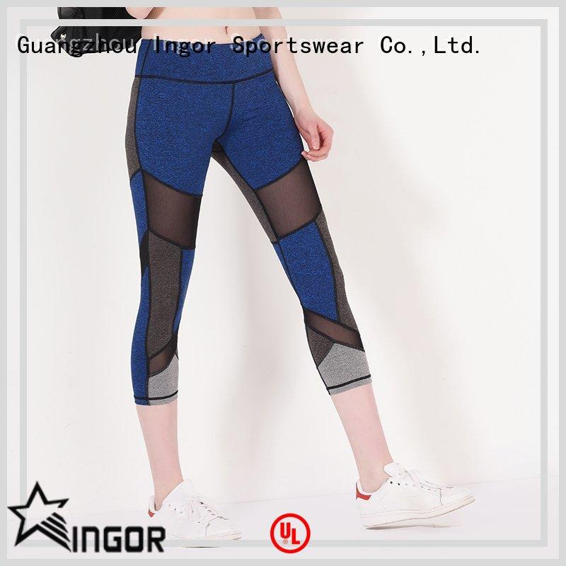INGOR durability maroon yoga leggings with four needles six threads for girls