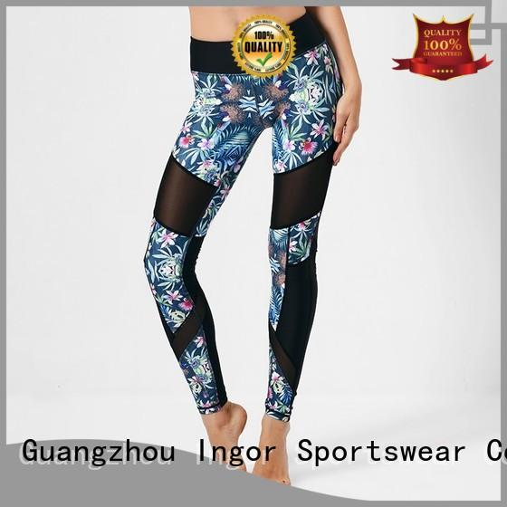 plain print mesh yoga pants INGOR Brand company