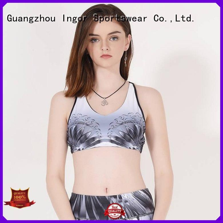 INGOR Brand racerback grey workout custom colorful sports bras