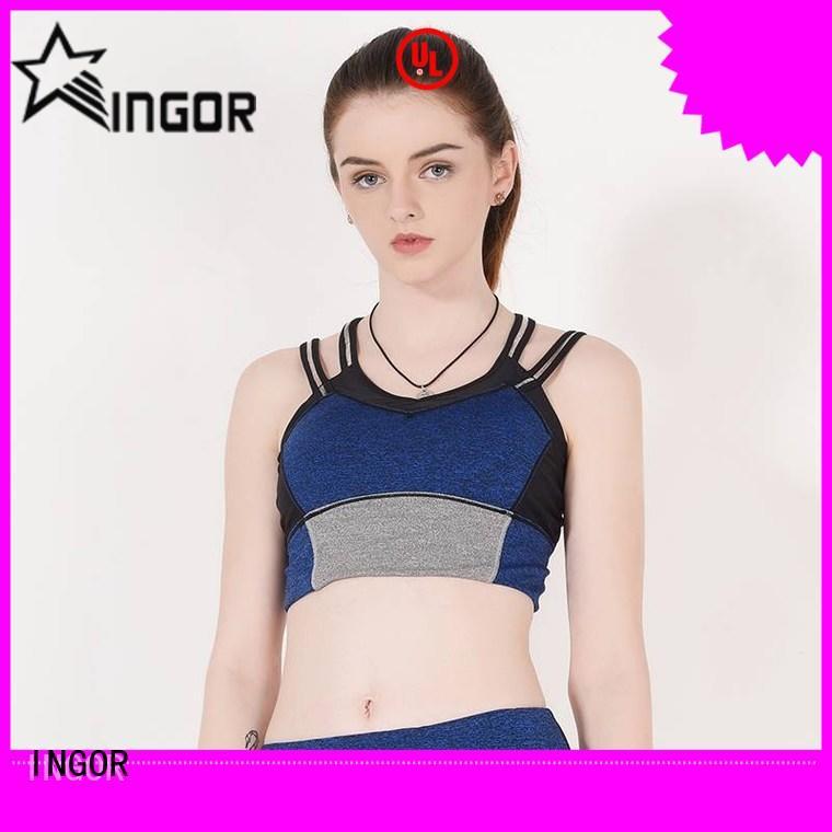 INGOR black neon pink sports bra on sale for ladies