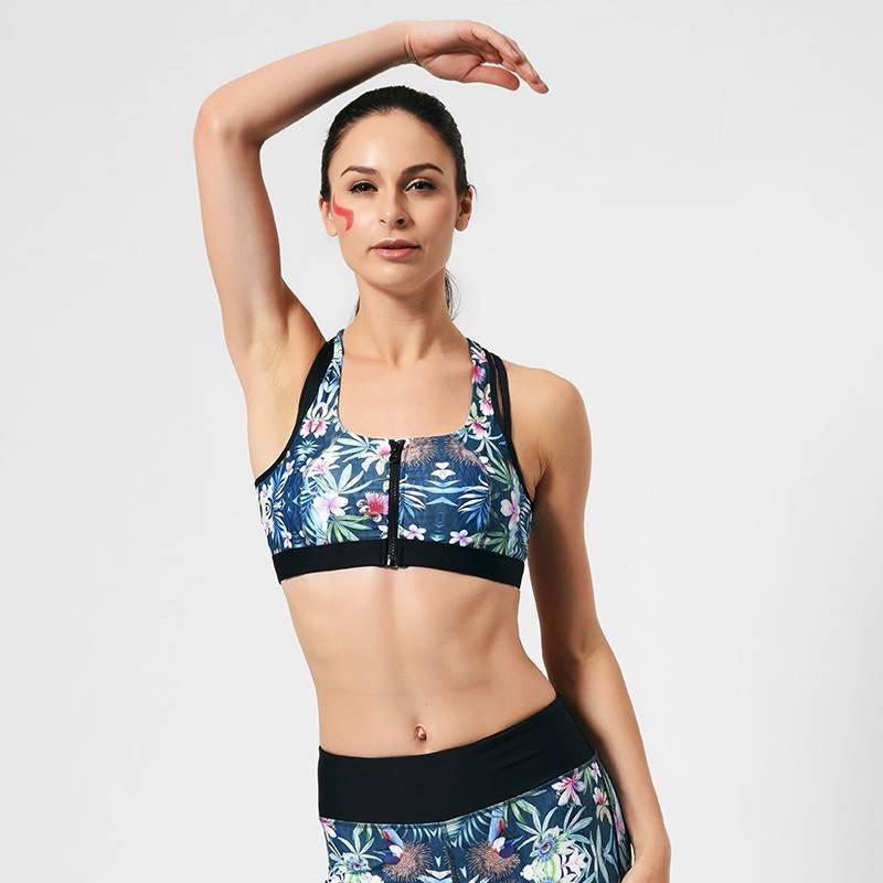 High-elastic sublimation print workout set front zipper sports bra and mid-waist leggings sets
