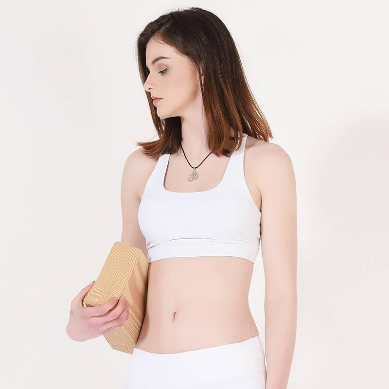 Ladies White Padded Sports Yoga Bra Y1911B09