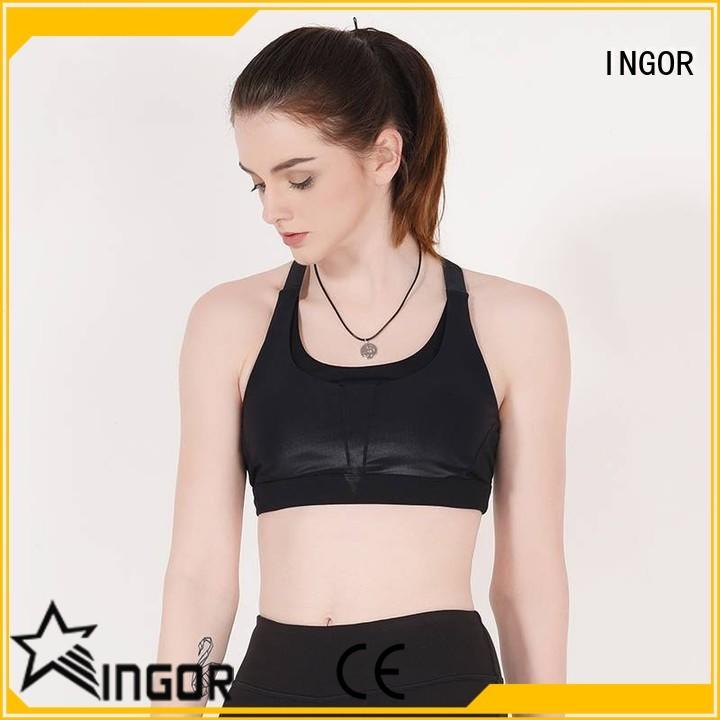 Plain black padded sports bra medium impact Y1911B02
