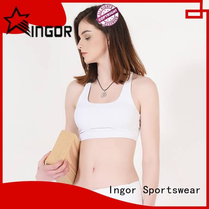 INGOR soft yellow sports bra to enhance the capacity of sports at the gym
