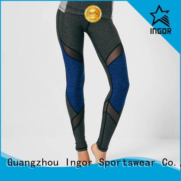 INGOR fitness mesh yoga pants blue for girls
