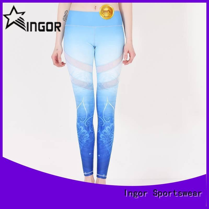 fitness navy blue yoga leggings sports with four needles six threads for ladies