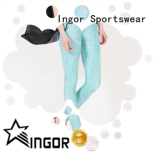 INGOR convenient cut out yoga leggings with four needles six threads for girls