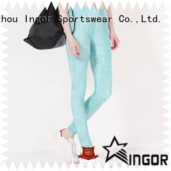 INGOR activewear burgundy yoga leggings with four needles six threads for girls