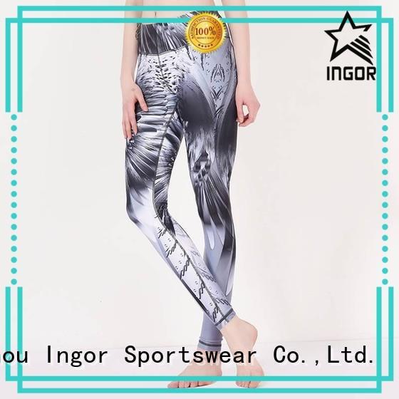 exercise black waisted ladies leggings tights INGOR Brand yoga pants yoga