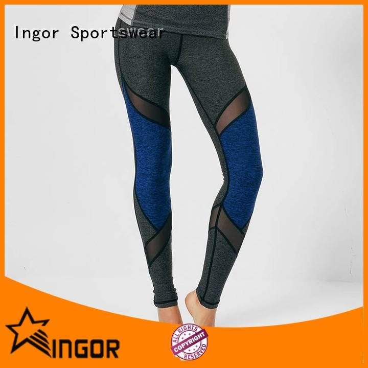 durability plain black yoga leggings mesh with four needles six threads for sport
