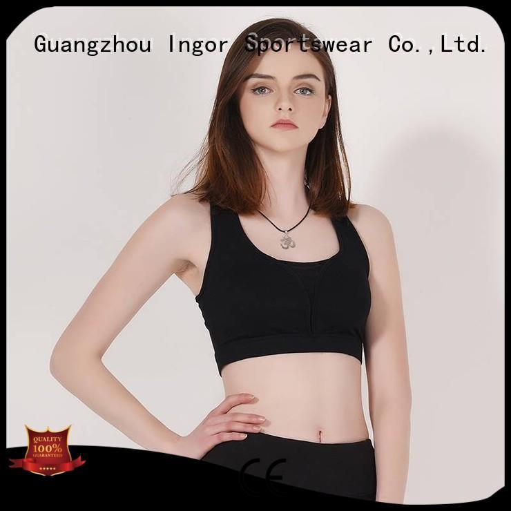 Wholesale plain colorful sports bras zip INGOR Brand