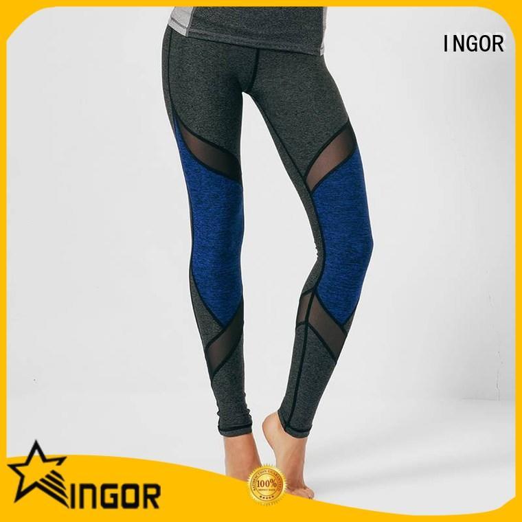 INGOR spandex light gray yoga leggings with high quality for women