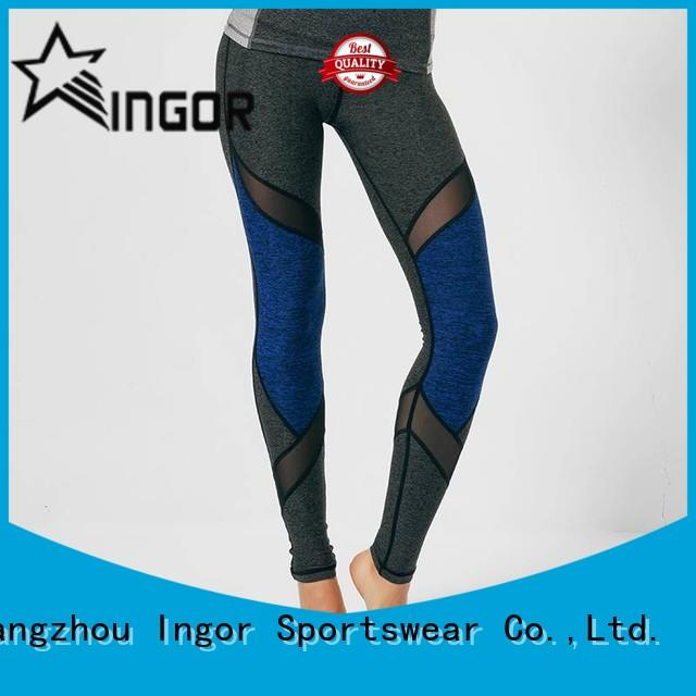 INGOR fitness patterned yoga leggings with four needles six threads for women