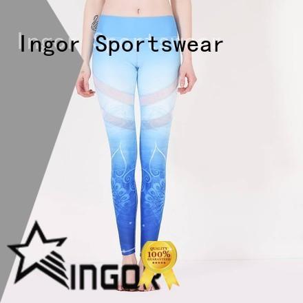 INGOR black yoga leggings with four needles six threads for women