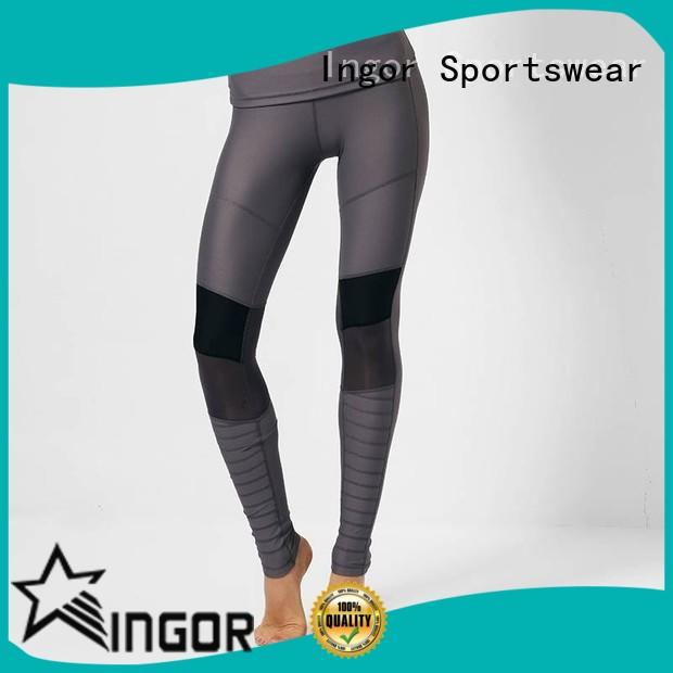 INGOR printed gym yoga leggings with four needles six threads for women
