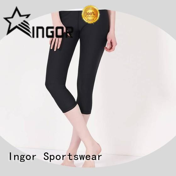 INGOR convenient red yoga leggings with four needles six threads for ladies