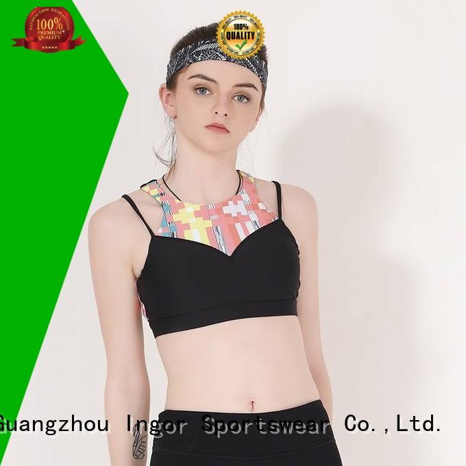 red sports strap sports bra INGOR