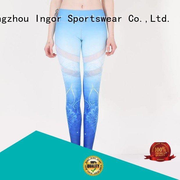 blue yoga pants spandex sports INGOR company