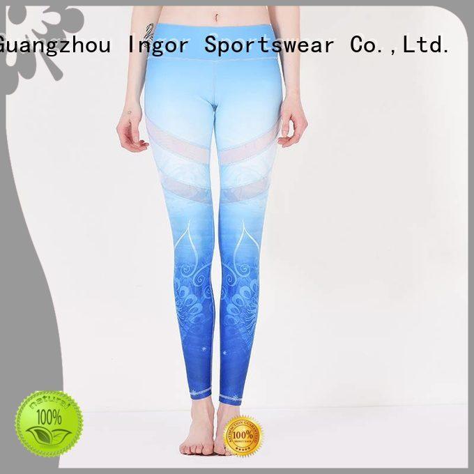 INGOR Brand mesh waist patterned yoga pants
