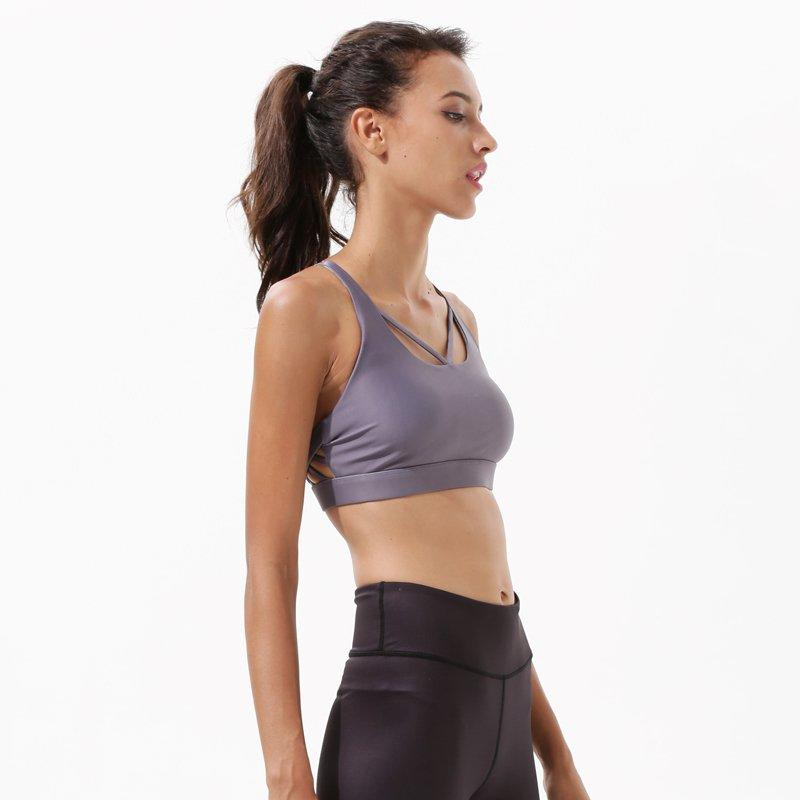 Grey Strappy Padded Sports Bra Y1922B10