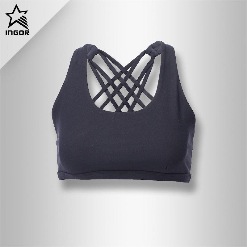 Fashion Black Padded Yoga Sports Bra Tops For Women JKB012