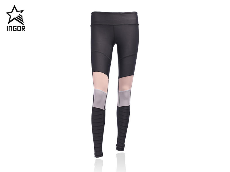 sports leggings fitness women has two colors stitching JK11P001