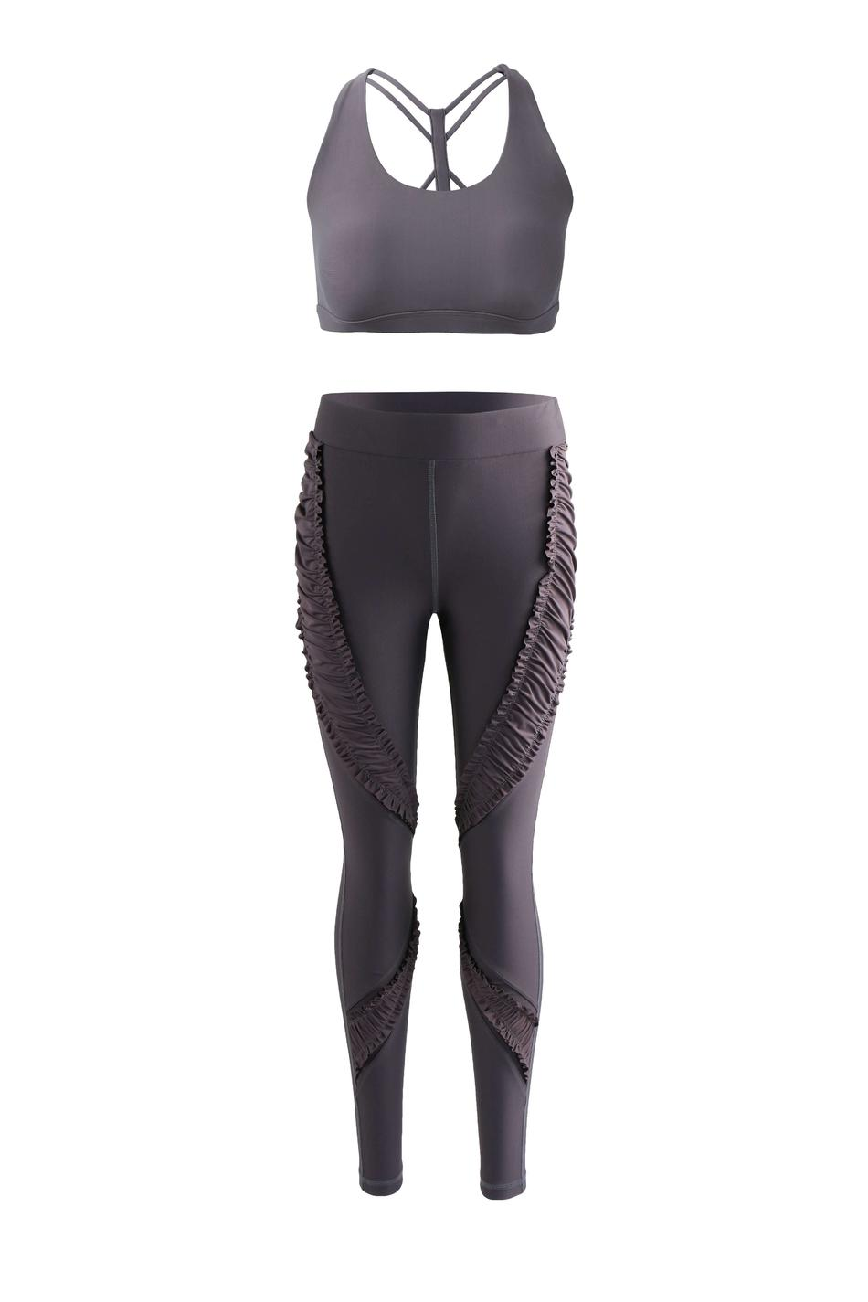Women custom made logo band workout sports bra and leggings set