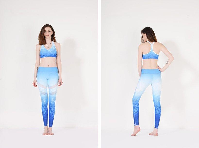 Blue floral patterned yoga pants with mesh Y1912P08 for Yoga or Sports