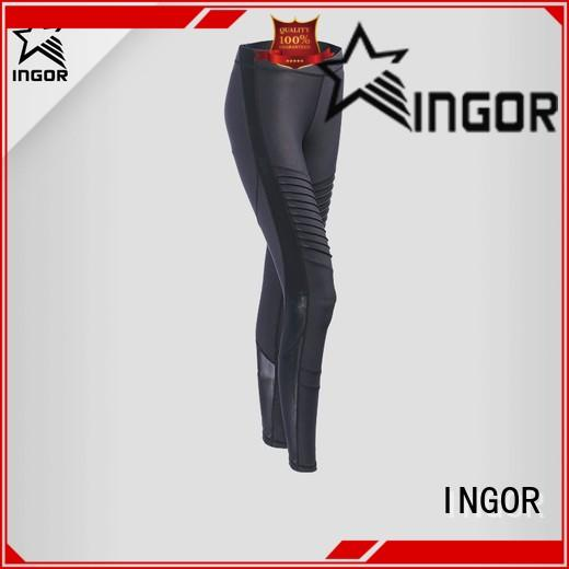 INGOR convenient purple yoga leggings with four needles six threads for women