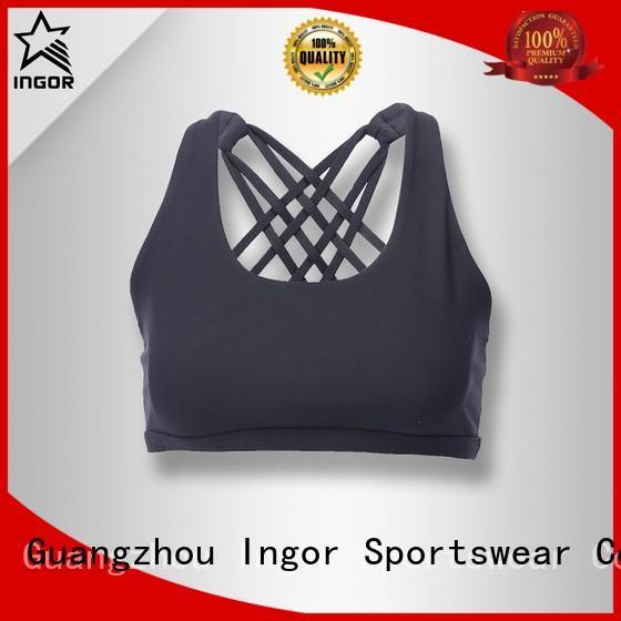 strap burgandy colorful sports bras ladies black INGOR Brand