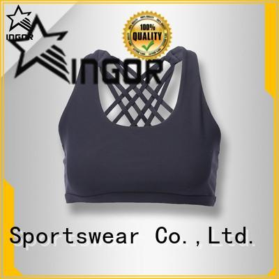 INGOR Brand adjustable blue front colorful sports bras