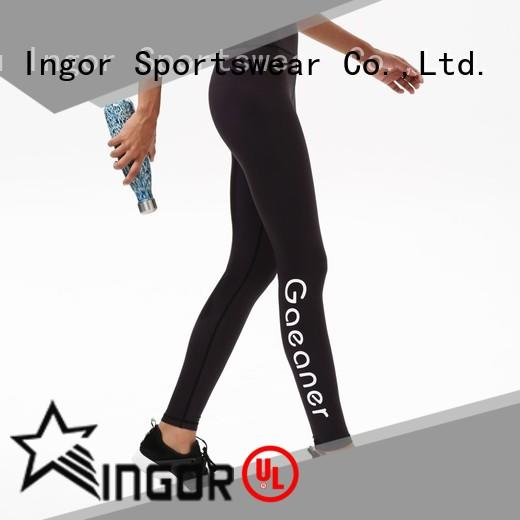 INGOR gray yoga leggings with four needles six threads at the gym