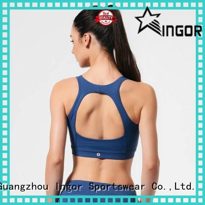 INGOR neck black halter sports bra with high quality for ladies