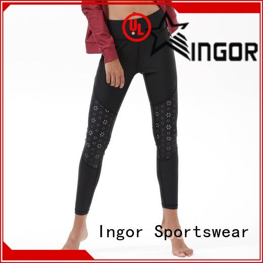 running pants women floral with four needles six threads for women