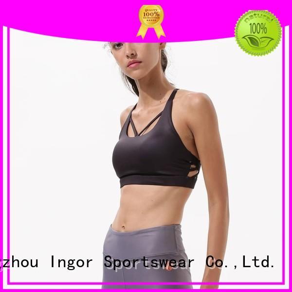 burgandy white adjustable sports bra INGOR Brand company