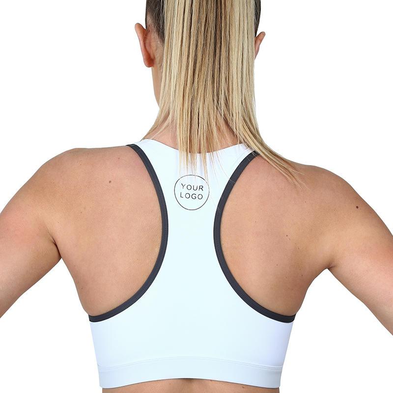 Wholesale Blank Front Zip Women Yoga Sports Crop Top Racer Back Bra