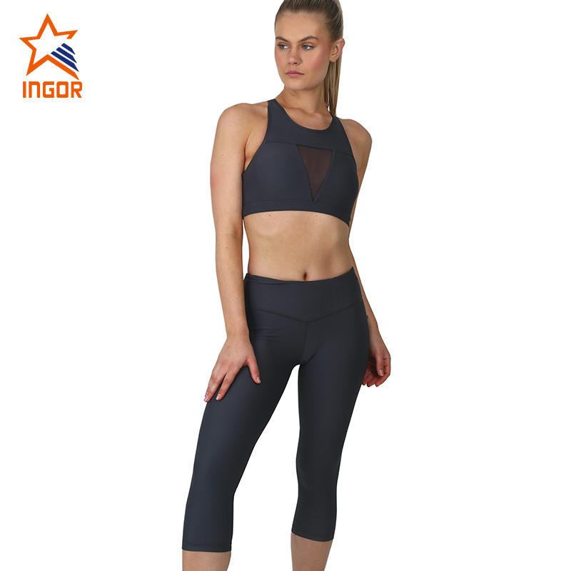 ODM Workout Yoga Set Women Racer Back Mesh Sexy High Impact Sports Bra And Yoga Pants Set