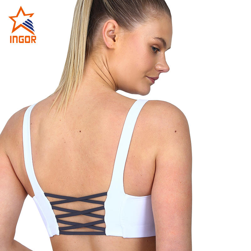 Customize Nude Fitness Wear Ladies Athletic Push Up Scoop Neck Sexy Strappy Plain Gym Womens Sports Bra