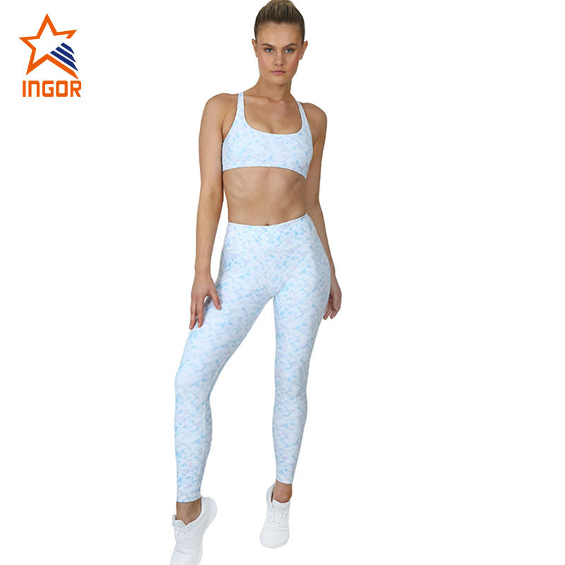 Wholesale Women Gym Wear Blank High Waist Leggings And Top Strappy Sports Bra Set
