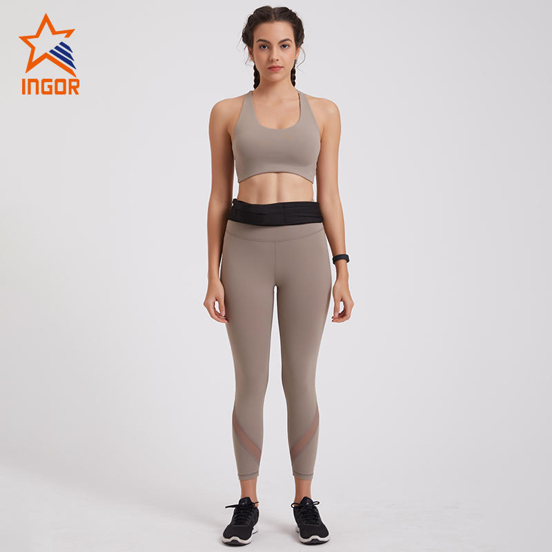Ladies Cross Back Sports Bra Mesh Carip Leggings Set