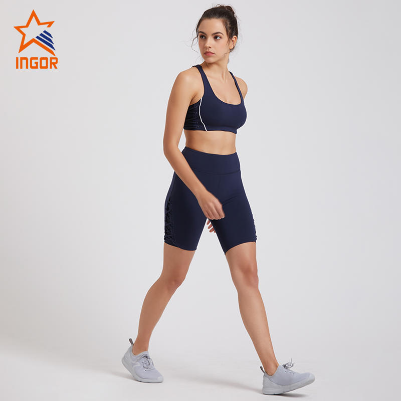High Waist Workout Biker Compression Navy Yoga Shorts Set