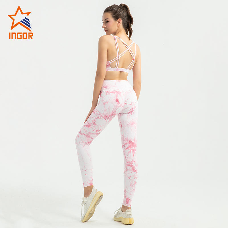 2020 strappy sports bra women yoga apparel tie dye yoga leggings set