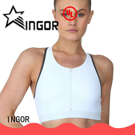 INGOR soft front zip sports bra to enhance the capacity of sports for girls