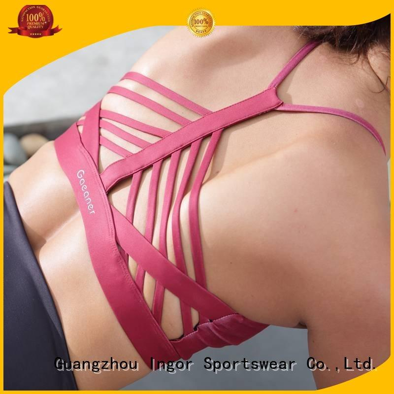 strap pink running INGOR Brand colorful sports bras factory